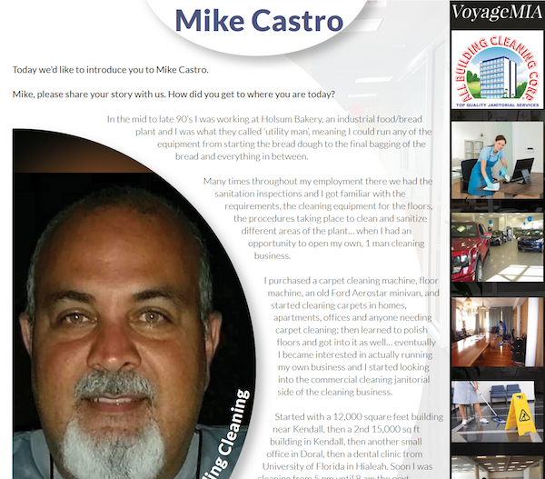 "Owner Mike Castro featured in Voyage MIA - ""Miami's Most Inspiring Stories"""